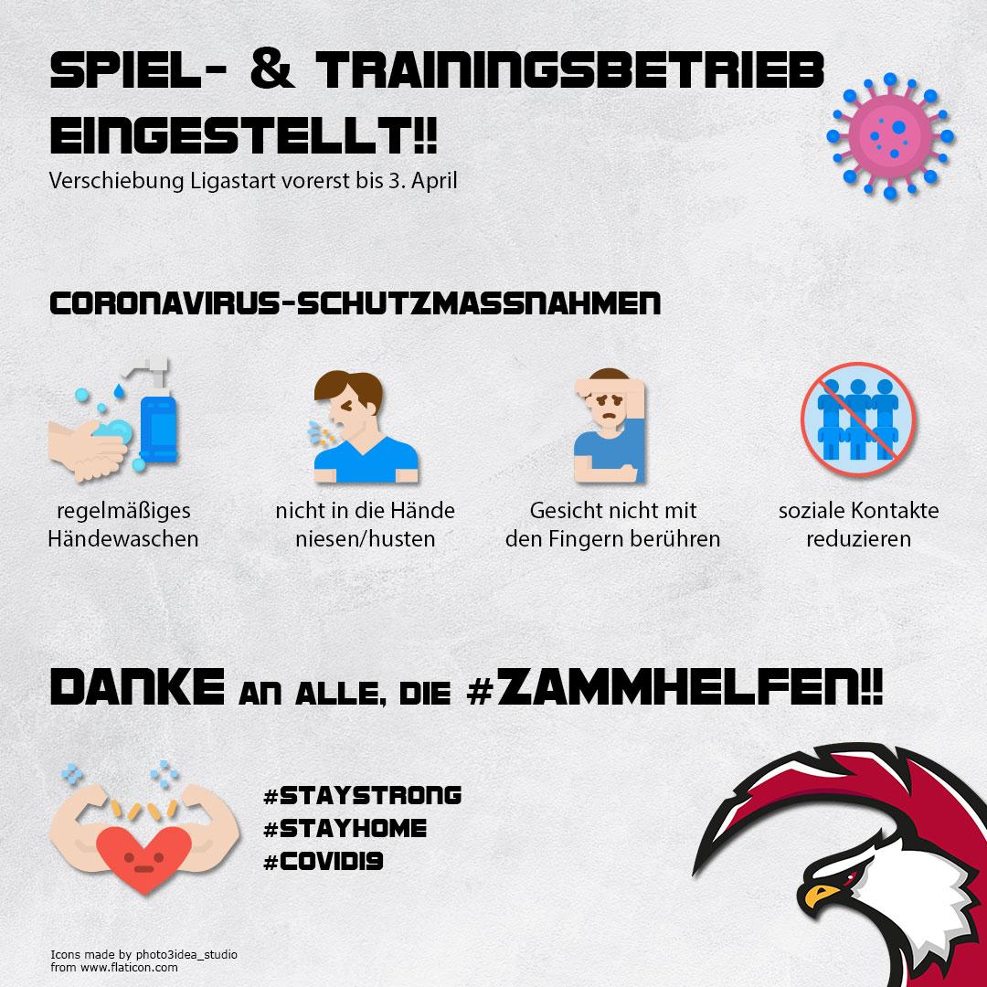 Spiel- & Trainingsbetrieb Eingestellt!! Verschiebung Ligastart vorerst bis 3. April